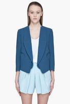 CHLOE Blue textured wool open Blazer