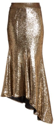 Alexandre Vauthier Asymmetric Sequinned Midi Skirt - Gold