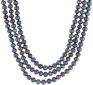 Splendid Pearls 7-7.5mm Dyed Black Cultured Freshwater Pearl Endless Necklace