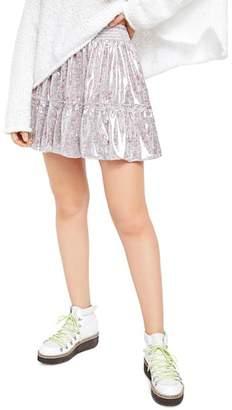 Free People In A Bubble Metallic Mini Skirt