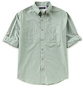 Roundtree & Yorke Cooler Comfort Roll-Tab Sleeve Solid Cape Back Sportshirt
