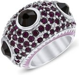 Iman Purple Crystals and Lavender Enamel Brass Cocktail Ring, Size 5