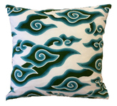 Aqua + Olive Cloud Batik Pillow