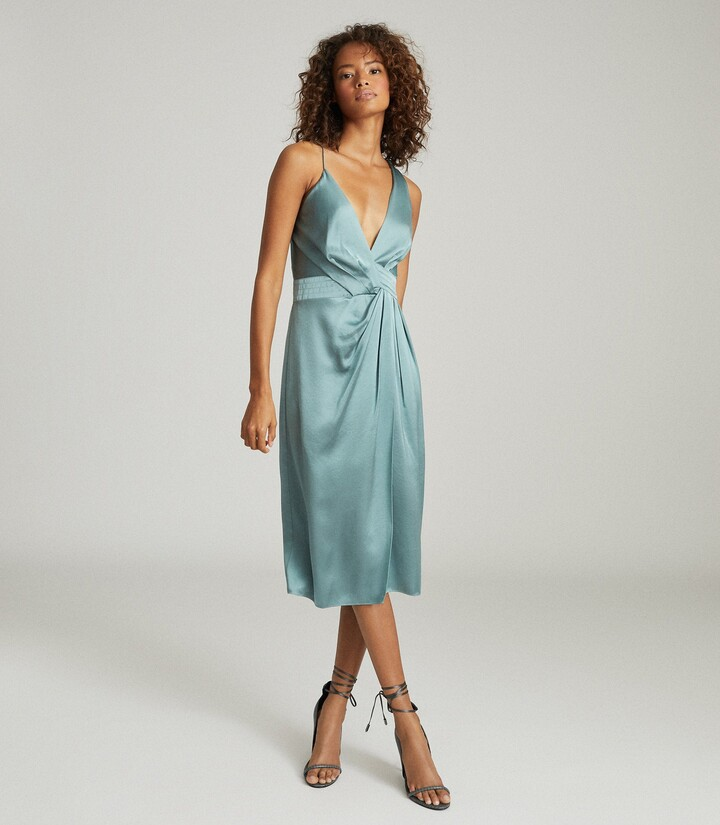 Reiss Charlie - Satin Twist-front Midi Dress in Pale Blue