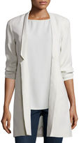 Eileen Fisher Structured Silk Notched-Collar Long Jacket, Plus Size