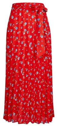 Dorothy Perkins Womens **Tall Red Floral Midi Skirt, Red