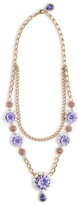 Dolce & Gabbana Gemstone And Faux Pearl Flower Necklace