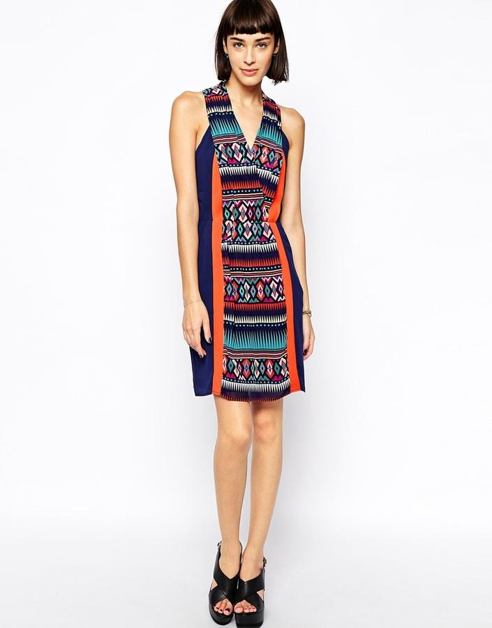 Greylin Tori Print Blocked Dress