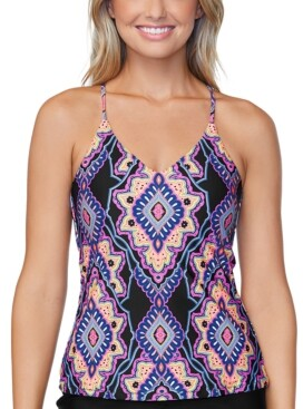 Raisins Juniors' Nepal Nights Printed Macrame Back Tankini Top, Created for Macy's Women's Swimsuit