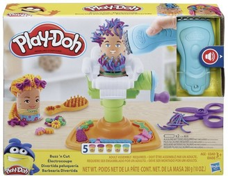 Play-Doh Buzz 'n Cut Fuzzy Pumper Barber Shop Toy with Electric Buzzer and 5 Non-Toxic Colors, 2-Ounce Cans