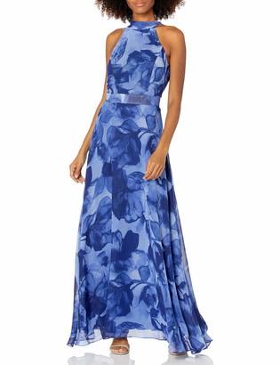 Tahari ASL Women's Sleeveless Halter Neck Floral Print Gown