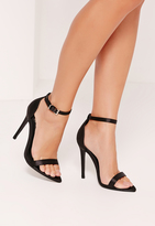 Missguided Satin Pointed Toe Barely There Heels Black