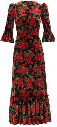 The Vampire's Wife The Festival Rose-print Velvet Midi Dress - Black Red