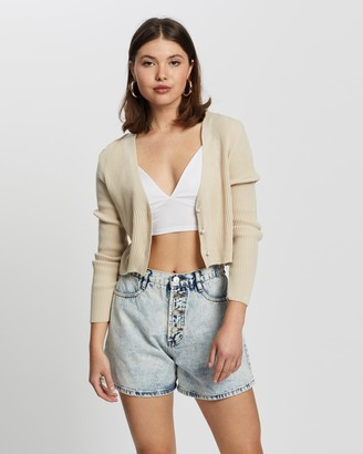 Missguided Ribbed Pearl Button Crop Cardigan