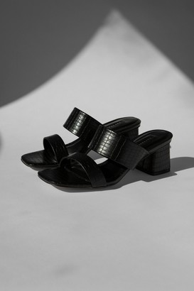 Topshop Womens Dina Black Block Mules - Black
