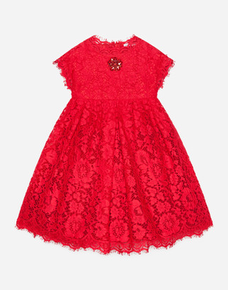 Dolce & Gabbana Cordonette Lace Dress With Embroidered Jewel
