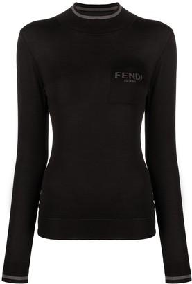 Fendi Long-Sleeve Knitted Roll Neck