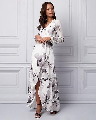 Le Château Floral Print Chiffon Wrap-Like Gown