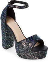 Wild Diva Black Fanny Glitter Platform Block Heel Sandals