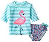 Carter's Toddler Girl Striped Flamingo Rashguard & Ditsy Flower Swimsuit Bottoms Set