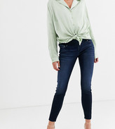 Asos DESIGN Maternity Ridley high waisted skinny jeans in blackened blue wash with under the bump waistband