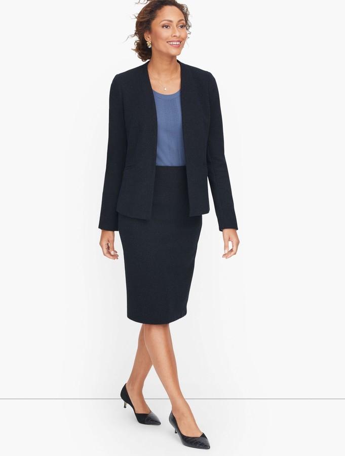 Talbots Knit Tweed Open Front Jacket