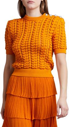 Balmain Crocheted 1/2-Sleeve Top