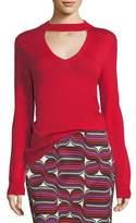 Trina Turk Choker Cutout V-Neck Sweater