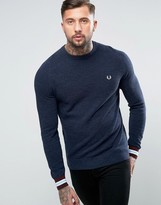 Fred Perry Textured Crew Jumper Tipped In Navy