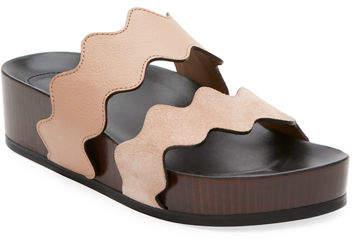 Chloé Lauren Two-Band Wedge Slide Sandal