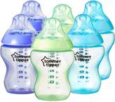 Tommee Tippee Closer to Nature Colour My World 260 ml/ 9 fl oz Decorated Feeding Bottles (Pack of 6, )