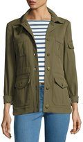 Veronica Beard Camp Ponte Utility Jacket, Olive