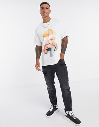 Topman t-shirt with abstract face print in white