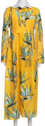 Fendi Yellow Silk Jacquard Birds of Paradise Flower Dress M
