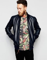 Levis Levi's Leather Bomber Premium Goods H1-16 In Nightwatch Blue