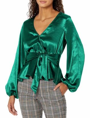 GUESS Women's Long Sleeve Jaden Faux Wrap Top