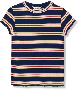 M&Co Lettuce hem stripe t-shirt (3-12yrs)