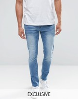 Always Rare Mid Wash Super Skinny Jeans with Raw Hem