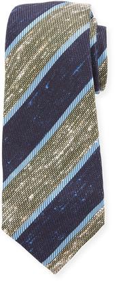Kiton Wide Diagonal Stripe Silk Tie, Green