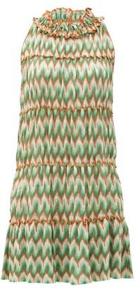 Missoni Chevron-stripe Lace-knitted Mini Dress - Dark Green