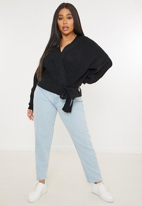 Missguided Plus Size Black Belted Knit Cardigan