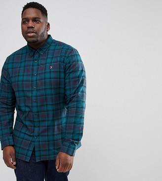 Farah Waithe slim fit check shirt in navy Exclusive at ASOS