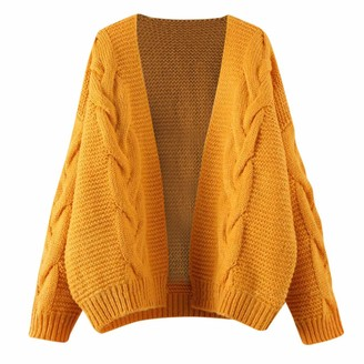 Dylung Womens Cardigans Womens Cardigans Long Sleeve Dylung Women's Long Sleeve Soft Chunky Knit Sweater Open Front Cardigan Outwear Yellow