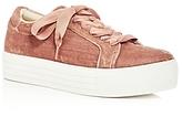 Kenneth Cole Women's Abbey Velvet Platform Lace Up Sneakers