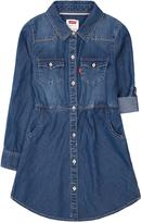 Levi's Girls' Long-Sleeve Woven Dress with Tab Roll Cuff