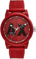 Armani Exchange Men's Red Silicone Strap Watch 46mm AX1453