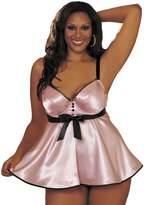 Shirley of Hollywood Women's Plus-Size Tuxedo Charmeuse Babydoll
