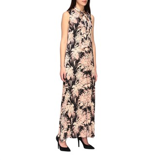Kaos Long Patterned Dress With Scarf