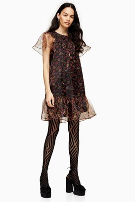 Topshop Womens Ditsy Floral Print Organza Mini Dress - Multi