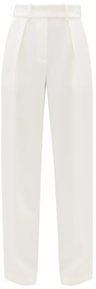 Alexandre Vauthier Side-stripe Crepe Wide-leg Trousers - Womens - Ivory
